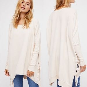 Free People One interlaken tunic side tie sweater